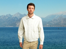 Higgs Leathers LAST ONE SAVE £100! Kurt (men's White Leather Blouson jacket)